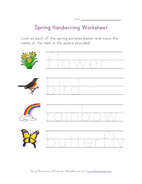 Spring Handwriting Worksheet | All Kids Network