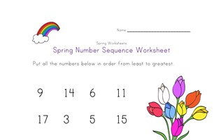 spring number sequence worksheet