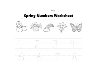 spring number tracing worksheet