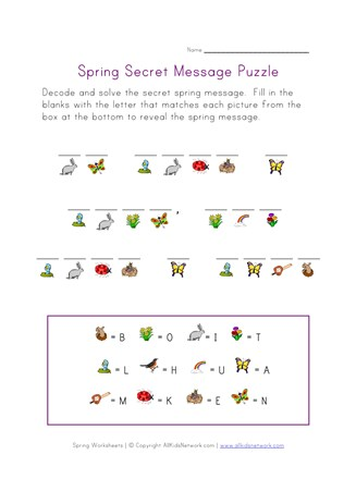 photo relating to Spring Crossword Puzzle Printable identified as Spring Consider Cryptogram Puzzle All Young children Community