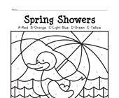 Spring Showers Color by Letters