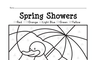 Spring Showers Color by Shapes