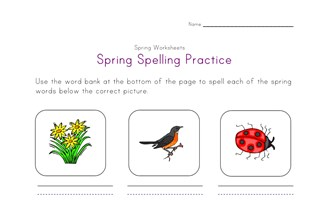 spring spelling worksheet