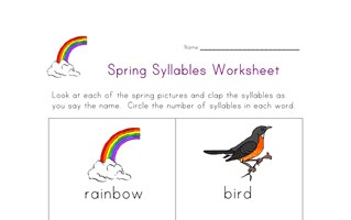 spring syllables worksheet