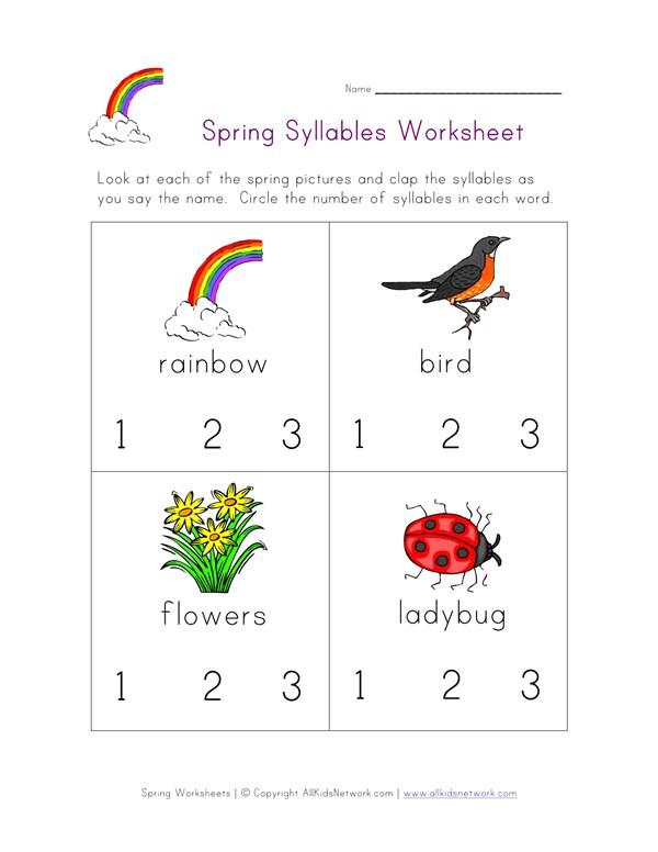Spring Syllables Worksheet All Kids Network