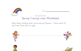 spring tracing lines worksheet
