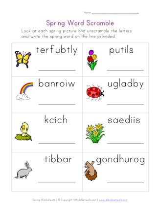 spring word scramble worksheet
