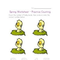 spring worksheet counting four