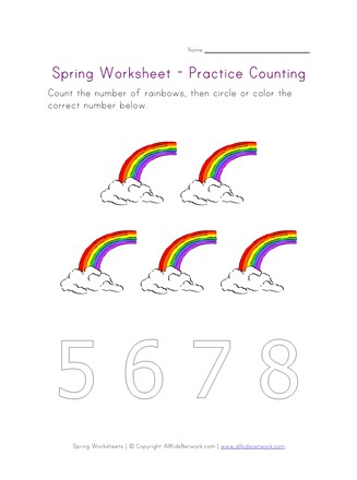 spring worksheet counting five