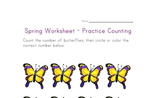 spring worksheet counting eight