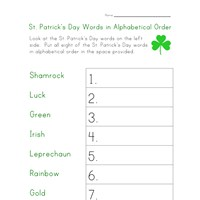 saint patricks day alphabetical order worksheet