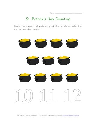 Pot of Gold  Counting Worksheet (Eleven)