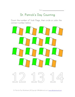 Irish Flags Counting Worksheet (Fourteen)