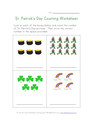 St. Patrick's Day Counting Practice Worksheet
