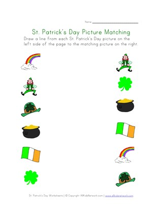 St. Patrick's Day Matching Worksheet