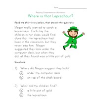 saint patricks day reading comprehension worksheet