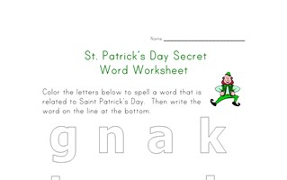 saint patricks day secret word worksheet