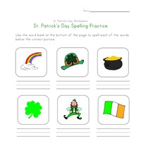 saint patricks day spelling worksheet