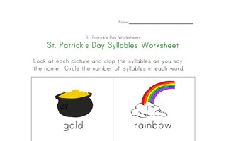 saint patricks day syllables worksheet