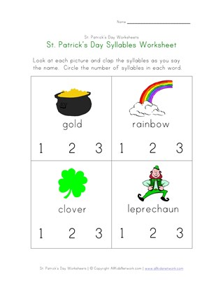 St. Patrick's Day Syllables Worksheet