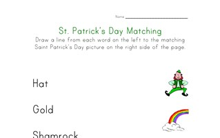 saint patricks day matching worksheet
