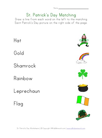 St. Patrick's Day Matching Worksheet | All Kids Network