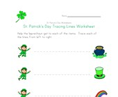 Leprechaun Tracing Lines Worksheet
