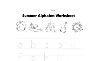 summer lowercase alphabet tracing worksheet