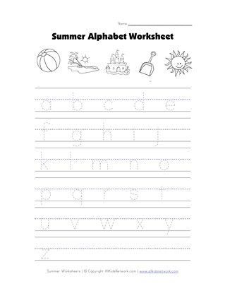 Summer Tracing Lowercase Alphabet Worksheet