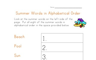 summer worksheet - alphabetical order