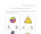summer beginning letters worksheet