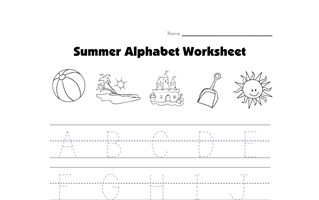 summer capital letters tracing worksheet