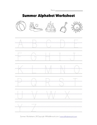 Summer Tracing Capital Letters Worksheet