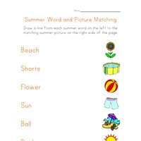 summer matching worksheet