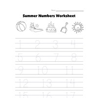 summer number tracing worksheet