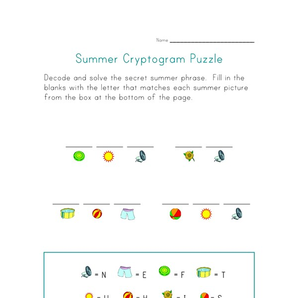 summer picture cryptogram puzzle all kids network. Black Bedroom Furniture Sets. Home Design Ideas