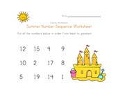 Summer Number Sequence Worksheet
