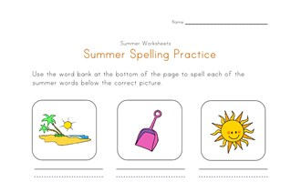 summer spelling practice worksheet