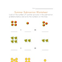 summer subtraction worksheet