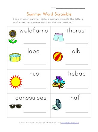 summer word scramble worksheet