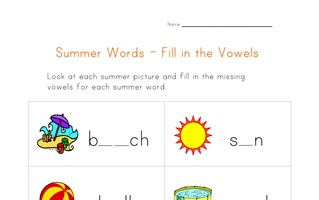 summer word worksheet