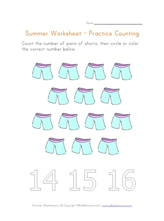 summer worksheet counting fourteen