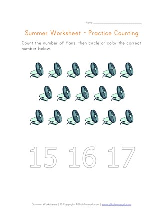 summer worksheet counting seventeen