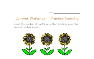 summer worksheet counting five