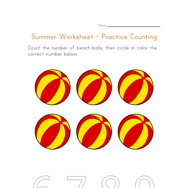 summer worksheet counting six