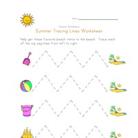 summer tracing zig zag lines worksheet