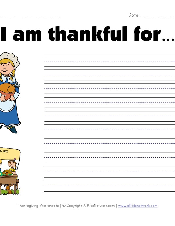 What Are You Thankful For Worksheet All Kids Network