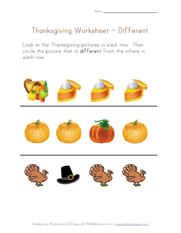 Penchant Pictures: Thanksgiving Worksheets Pictures
