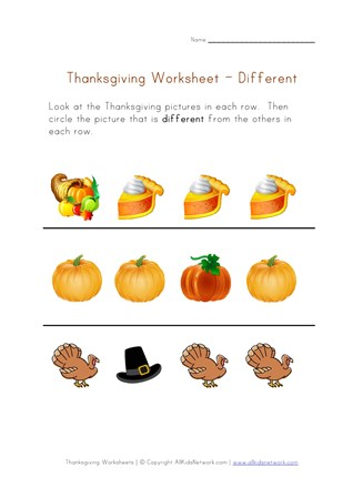 thanksgiving worksheet different
