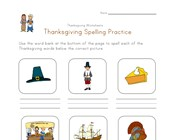 thanksgiving spelling practice worksheet